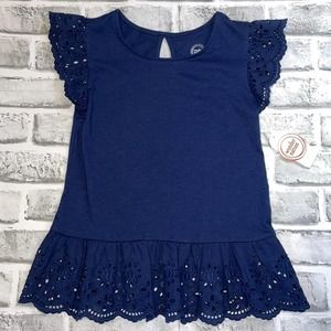 NWT Girls Wonder Nation Blue Lace Top